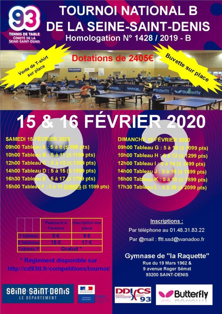 1- Affiche Tournoi National B du CD93TT 2019-2020